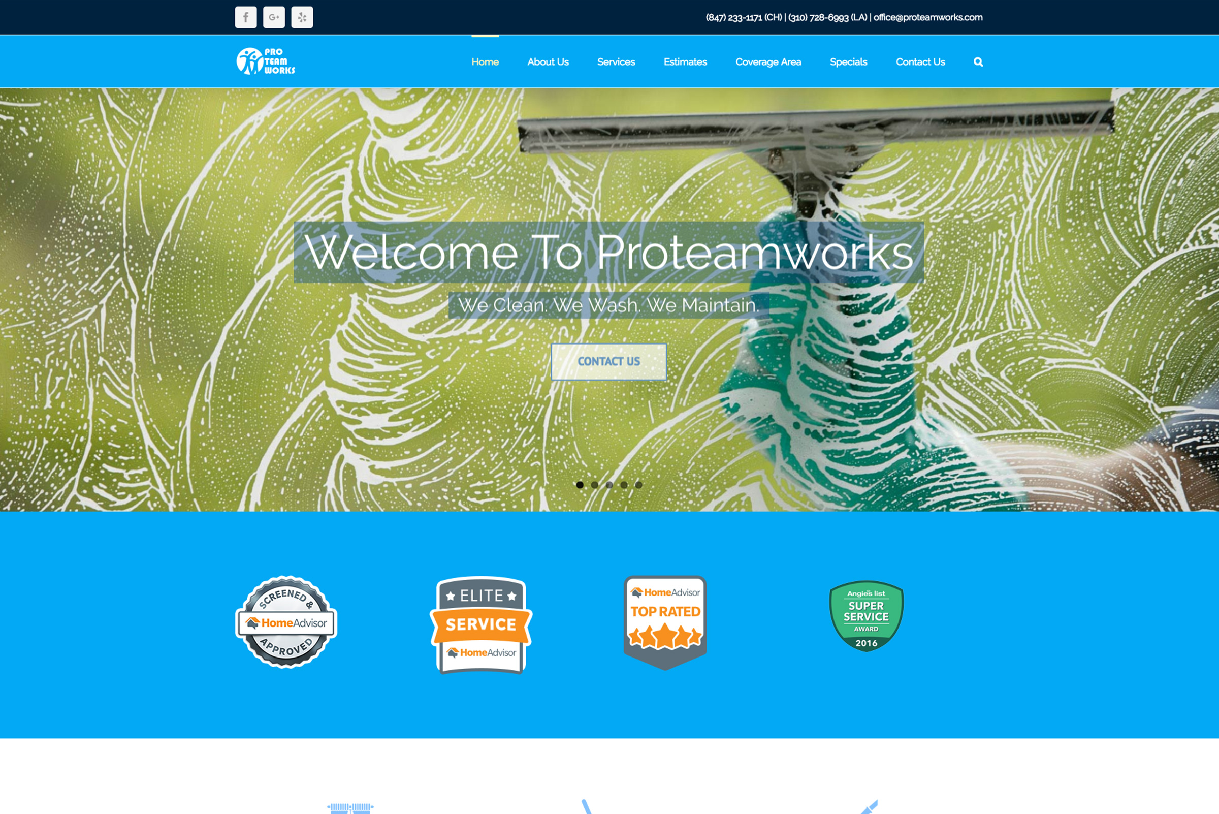 Proteamworks a cleaning business website mockup