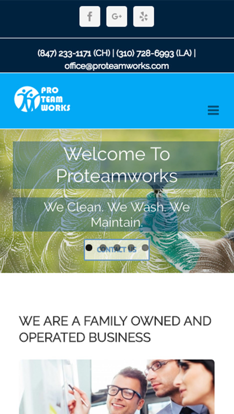 Proteamworks a cleaning business mobile website mockup